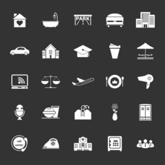Hospitality business icons on gray background
