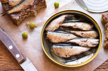 Tin can of sprats, sardines