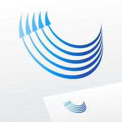 Vector logo with blue arrows