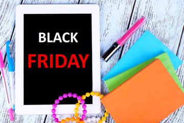 Tablet with Black Friday text