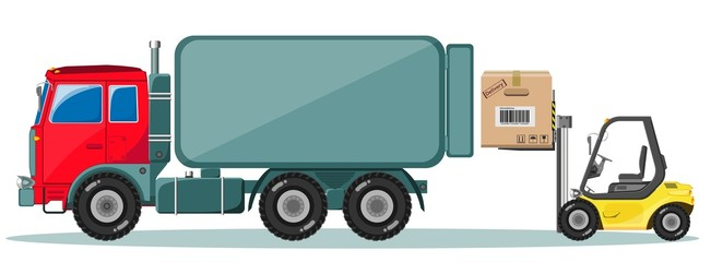 Truck and Loader with Box. Delivery of cargo. Vector