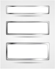 Steel metal banner frame. Vector border