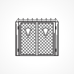 Line icon for iron gates