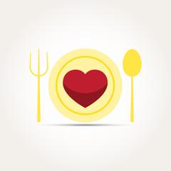 Vector Love Heart Romantic Meal