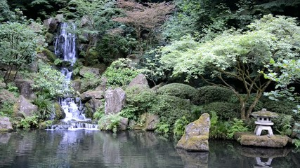 Tranquil waterfall in Japanese Garden-HD video