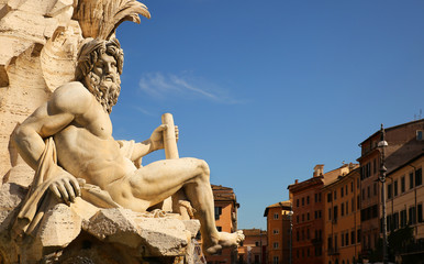 Fountain of the four rivers in Navona square. Rome, Italy