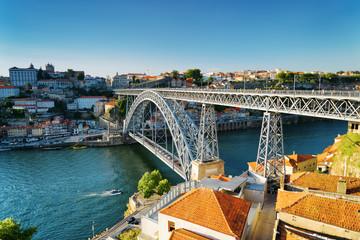 The Dom Luis Bridge in Porto, Portugal.