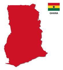 ghana map with flag