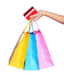 Colorful Shopping Bags and Credit Card in Female Hand