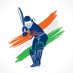 cricket player design by brush stroke vector