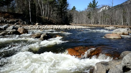 Pure running water of a river in the wilderness