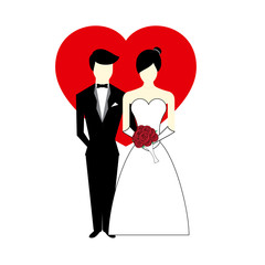 Vector Bride and Groom with Heart Illustration