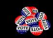 pile of patriotic voting pins on black