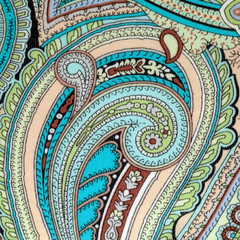 colorful vintage fabric with blue and brown paisley print