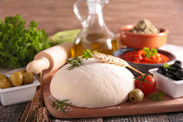 pizza dough and ingredients
