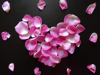 pink heart made of rose petals on a black background