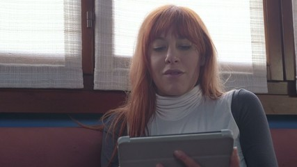 College Student Girl Woman Using Ipad Tablet For Email Internet