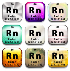 A periodic table showing Radon