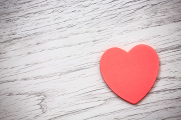 valentines day background with heart on wooden background