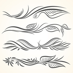 Filigree set of leaves calligraphic elements for design.