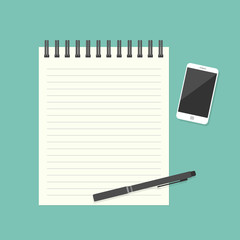 Paper note with pen and smartphone