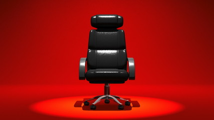 Spotlighted Business Chair On Red Background