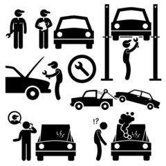 Car Repair Services Workshop Mechanic Cliparts Icons