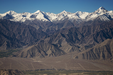 Snow mountain range at road side viewpoint