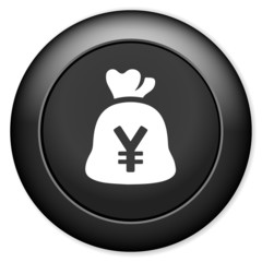 Money bag icon. yen currency button