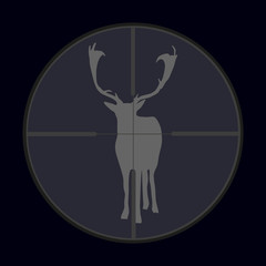 hunting season with deer gray in gunsight eps10