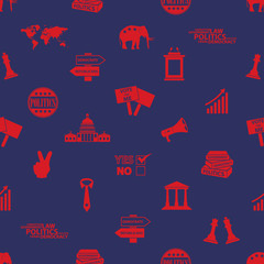 politics red and blue icons seamless pattern eps10