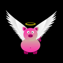 pink saint pig with great white wings eps10