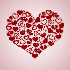red valentine hearth love symbols in big hearth shape eps10