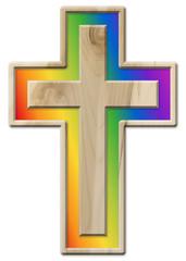 Kruzifix aus hellem Ahornholz und Regenbogenfarben, freigestellt