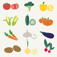 set of color simple vegetables icons eps10