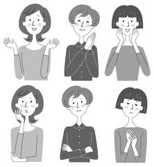 女性 3人 表情 いろいろ モノクロ