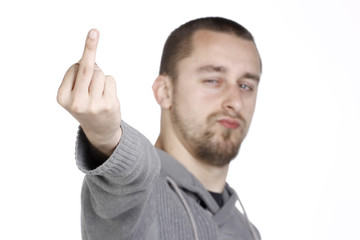 Angry Man Showing Middle Fingers