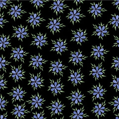 Pastel  watercolor hand drawn blue flower seamless pattern.