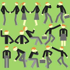 Cartoon bodily movement vector on a green background