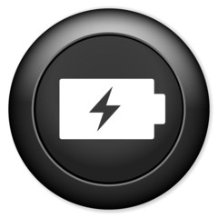 Battery charging sign icon.