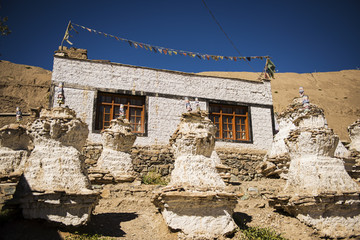 Tibetan House and Stupa in Jammu-Kashmir Ladakh