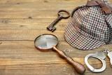 Sherlock Holmes Cap famous as Deerstalker, Key, Handcuffs and Ma