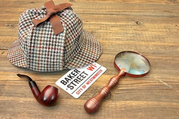 Baker Street Signboard, Sherlock Holmes Cap, Smoking Pipe and Ma