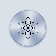 Light blue metal button with nuclear icon