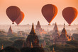 Leinwanddruck Bild - Balloon over plain of Bagan in misty morning, Myanmar