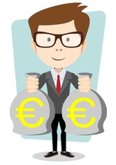 Businessman with bags full of euros, vector illustration