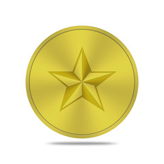 gold button with star icon