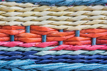 Colorful wicker basket detail