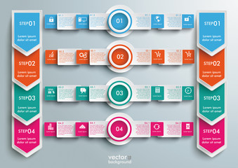 Rectangles Banners Circles Double Arrows Big Infographic