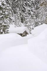 Österreich, Salzburger Land, Blockhaus im Schnee